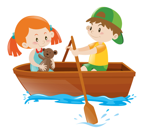 Boy Rowing Boat With Girl As Passenger Illustration Royalty Free Cliparts Vectors And Stock Image 64025343