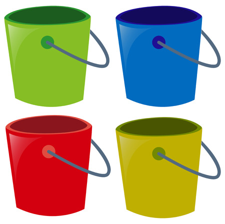 buckets: Four buckets in different colors illustration