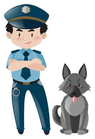 police dog: Policeman standing with police dog illustration Illustration