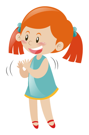 Little girl in blue dress clapping hands illustration