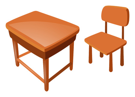 silla de madera: Wooden chair and table on white illustration
