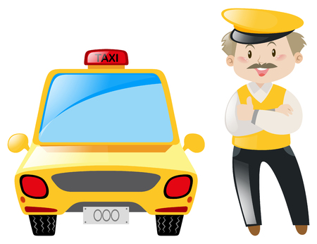 yellow cab: Taxi driver and yellow cab illustration