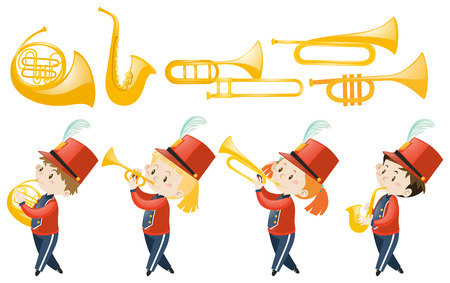 Set of children playing musical instruments illustration
