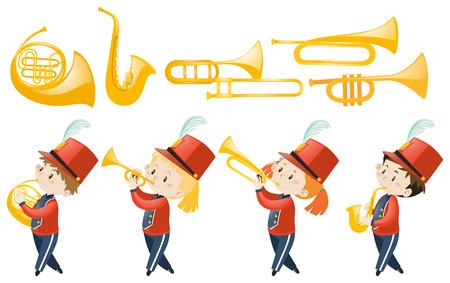 Set von Kinder Musikinstrumente Illustration spielen Standard-Bild - 64028375