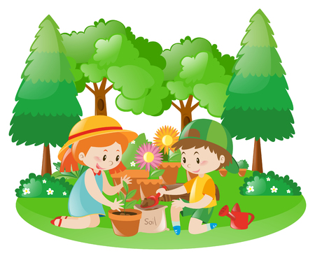 tree planting: Two kids planting tree in garden illustration