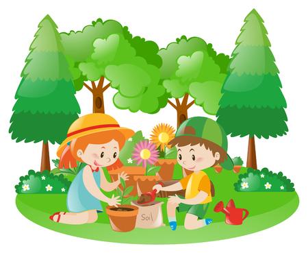 planting tree: Two kids planting tree in garden illustration