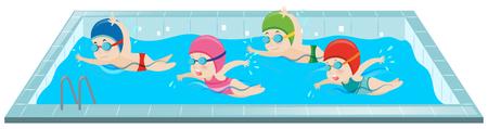 Children swimming in the pool illustration Vettoriali
