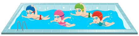 Children swimming in the pool illustration Vectores
