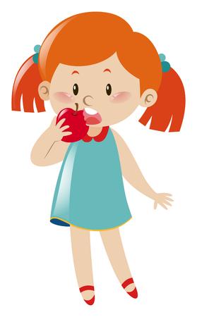 blue dress: Girl in blue dress eating apple illustration