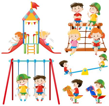 多くの子供たちが遊び場の図で遊んで  イラスト・ベクター素材