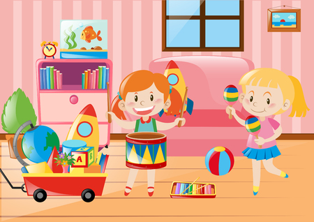 two girls: Two girls playing in living room full of toys illustration
