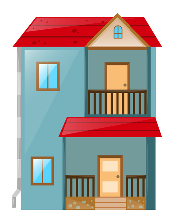 waterpipe: House painted blue with red roof illustration