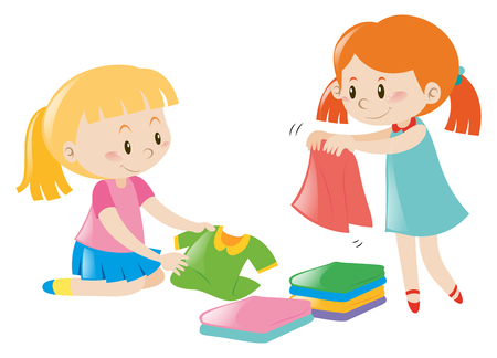 Two girls folding clothes illustration
