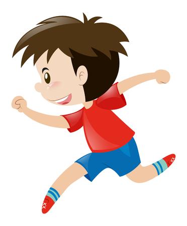 red shirt: Little boy in red shirt running alone illustration Illustration