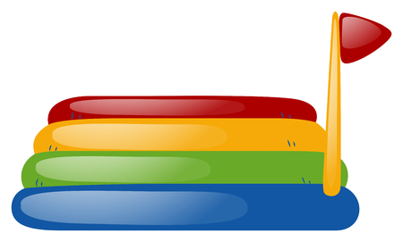 colorful slide: Bouncing mat with red flag illustration