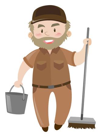 Janitor in brown uniform illustration Illustration