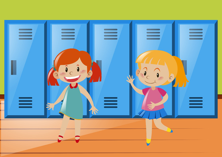 two girls: Two girls in front of lockers illustration