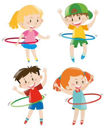 hoops: Children playing hoops illustration