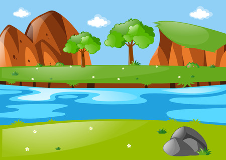 river rock: Scene with river run through the park illustration