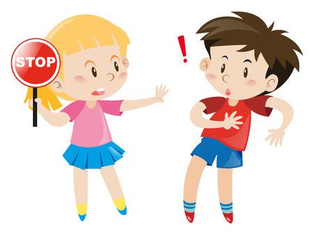 Girl holding stop sign illustration