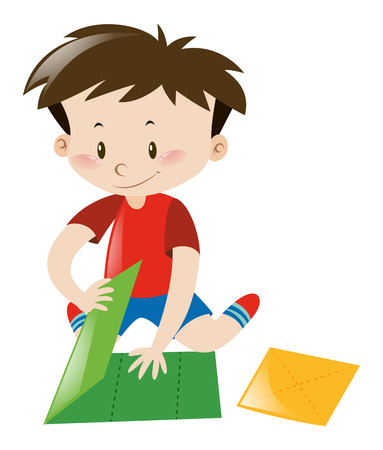 Little boy folding green paper illustration