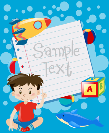 Paper design with boy and toys background illustration