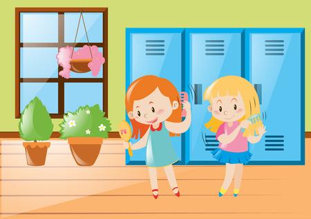 locker room: Two girls combing hair in locker room illustration Illustration