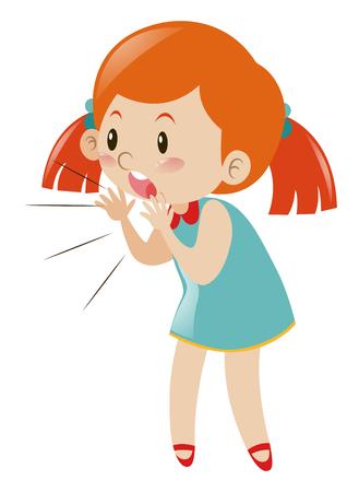 Little girl in blue dress shouting illustration