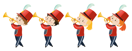 Children playing music in band illustration Vetores
