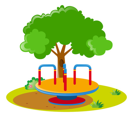 roundabout: Roundabout in the middle of the park illustration Illustration