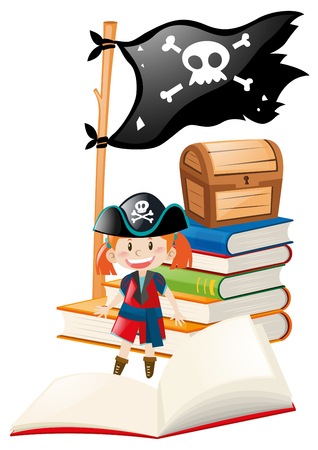 role play: Girl dressed up in pirate costume illustration Illustration