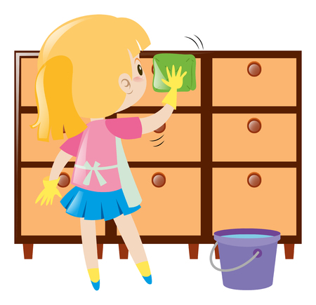 drawers: Little girl cleaning drawers illustration