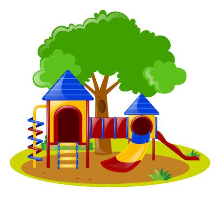 Escena con patio de recreo en la ilustración del parque