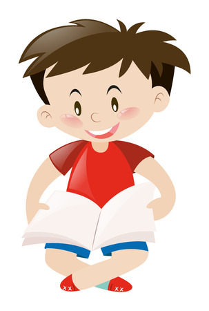 red shirt: Cute boy in red shirt reading book illustration