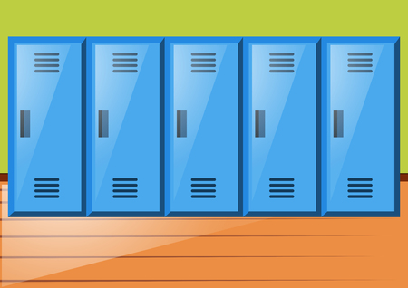 gym room: Room with blue lockers illustration