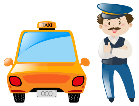 occupation: Taxi driver stand by the taxi illustration