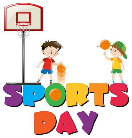 Sports day poster with boys playing basketball illustration