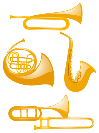 woodwind: Different types of musical instruments illustration