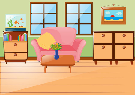 cabinets: Room with sofa and cabinets illustration