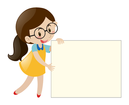 Girl with glasses holding blank paper illustration Imagens - 64025987