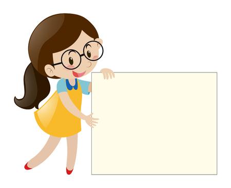 Girl with glasses holding blank paper illustration Illustration