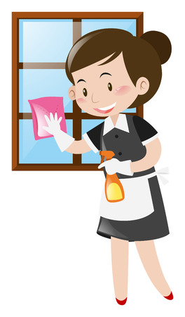 maid cleaning: Maid cleaning window with cloth illustration Illustration