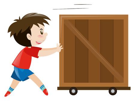 pushing: Happy boy pushing wooden box illustration