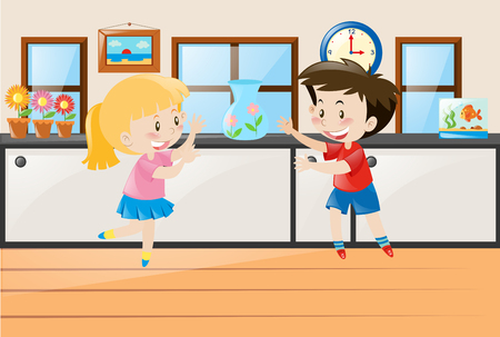 schoolmate: Boy and girl standing in class illustration