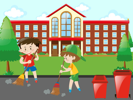 sweeping: Kids sweeping the road illustration Illustration