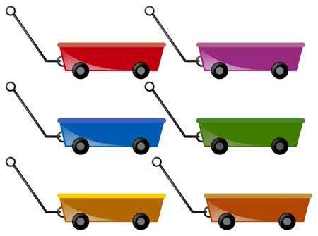 Wagon in six colors illustration