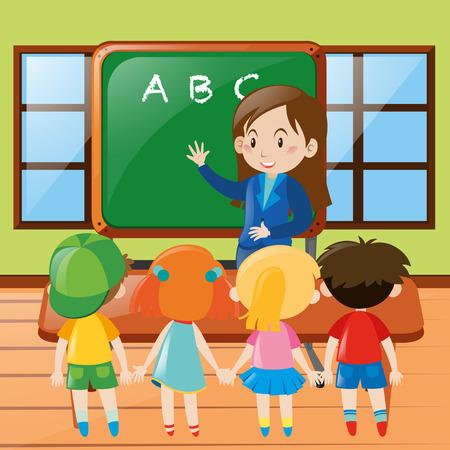 teacher teaching: Teacher teaching in classroom illustration Illustration