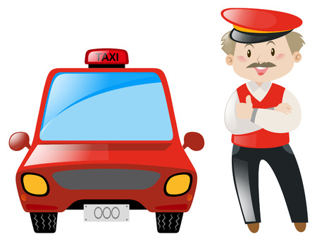 Taxi driver with red taxi illustration