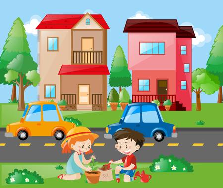 planting: Kids planting tree in the yard illustration Illustration