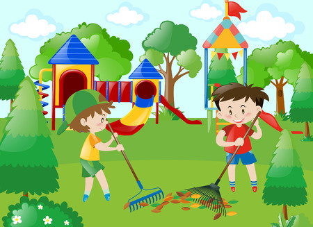 Two boys sweeping leaves in park illustration Иллюстрация